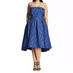City Chic Womens Blue Jacquard Dress Plus 18 M